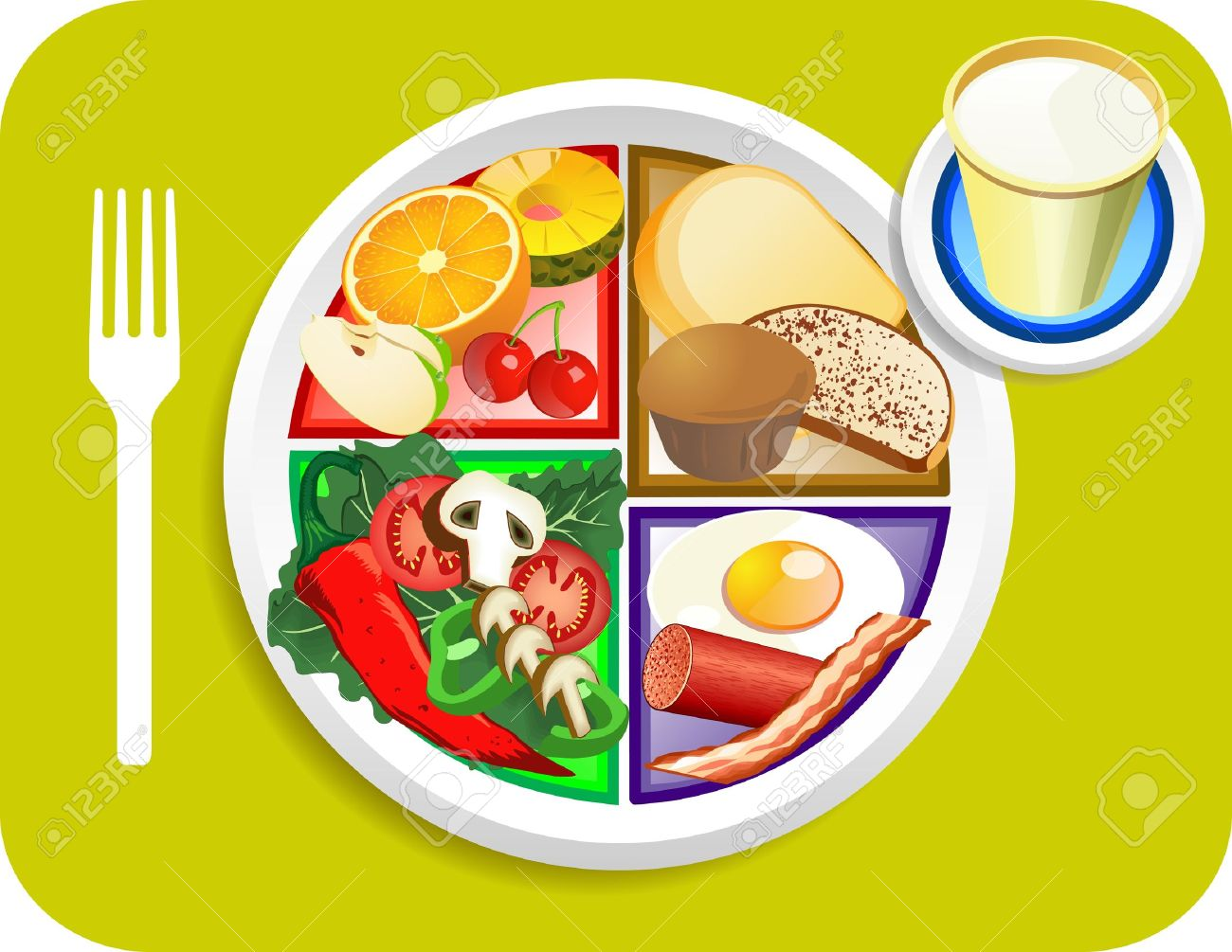 Vector illustration of Breakfast items for the new my plate replacing food pyramid. Stock Vector - 9718924