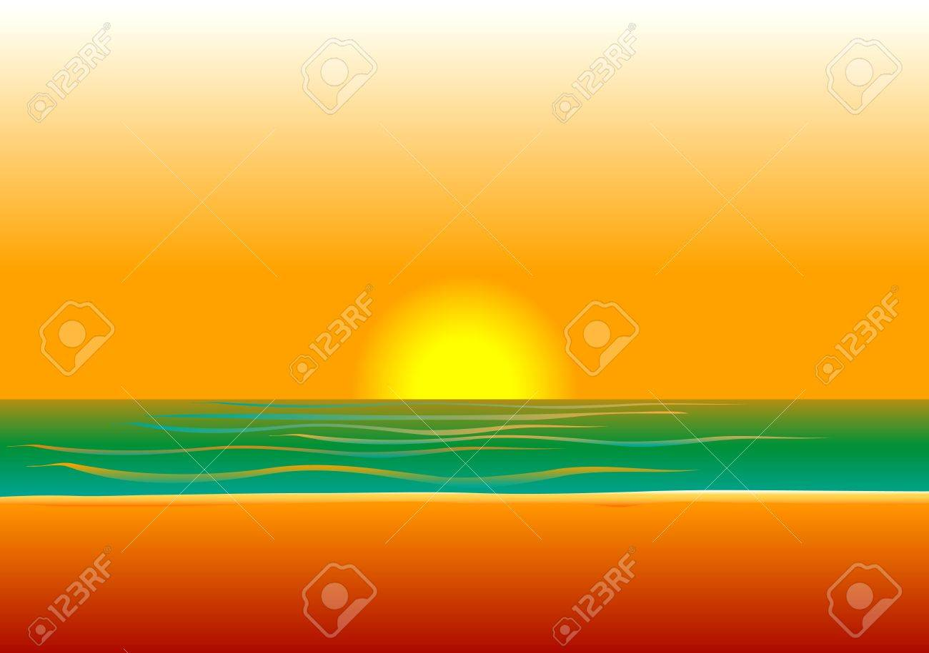 Illustration of a woman in red swimsuit on beach during sunset/sunrise. Stock Vector - 10050493