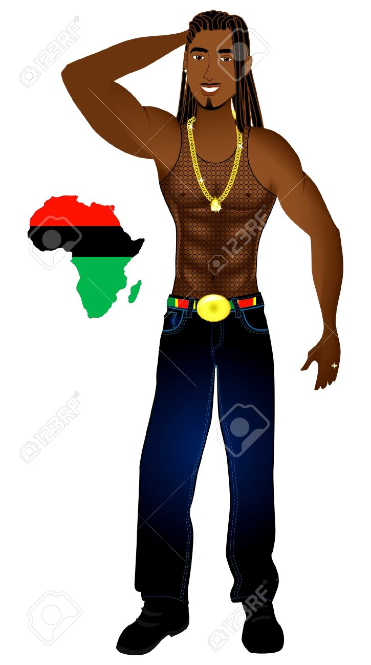 Illustration of an Afrocentric Rasta man with African map. Stock Vector - 10050647