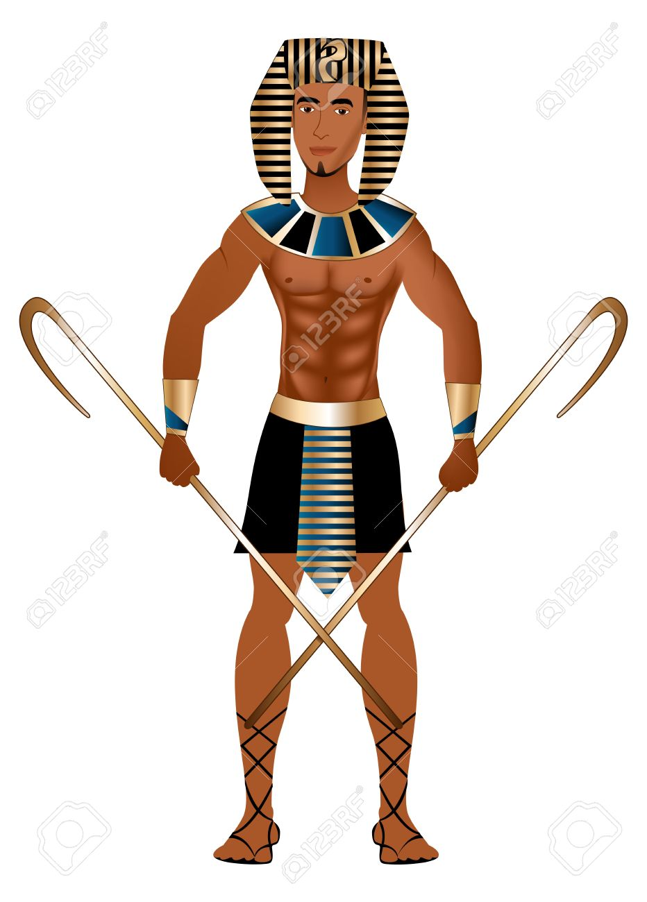 vector vector illustration of a man dressed in egyptian carnival halloween costume