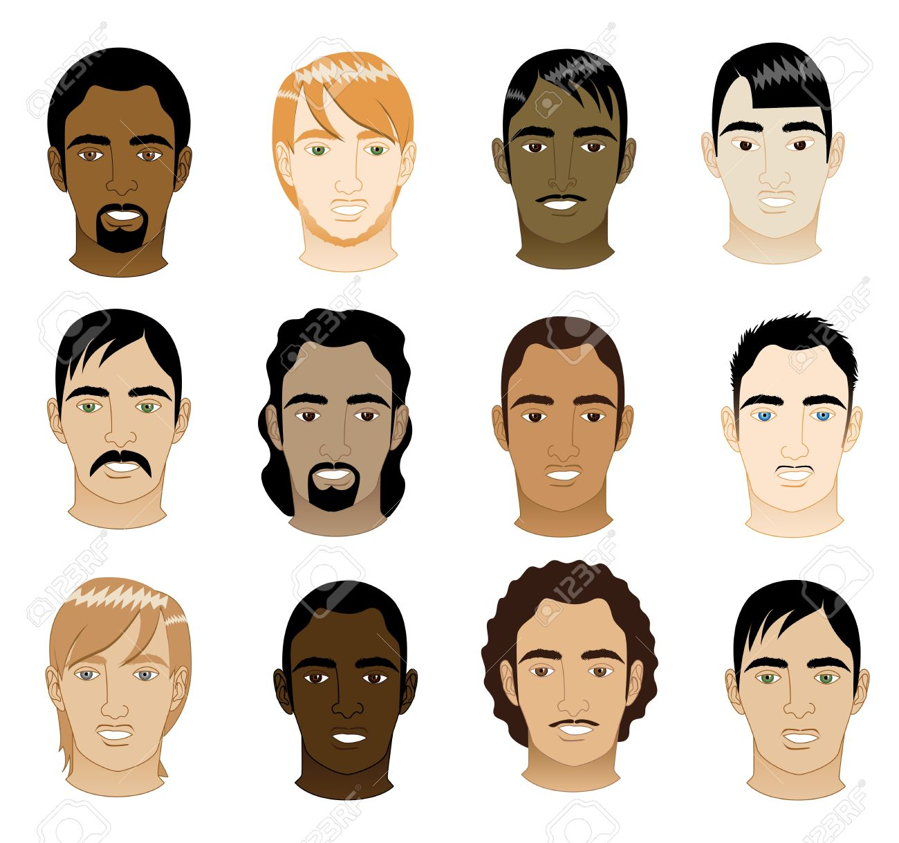 Vector Illustration of 12 different mens faces. Stock Vector - 11044220