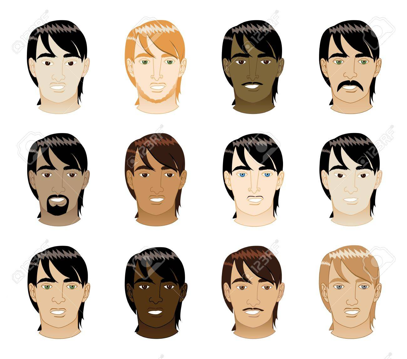 Vector Illustration of 12 different long Straight Hair Men Faces. Stock Vector - 11135638