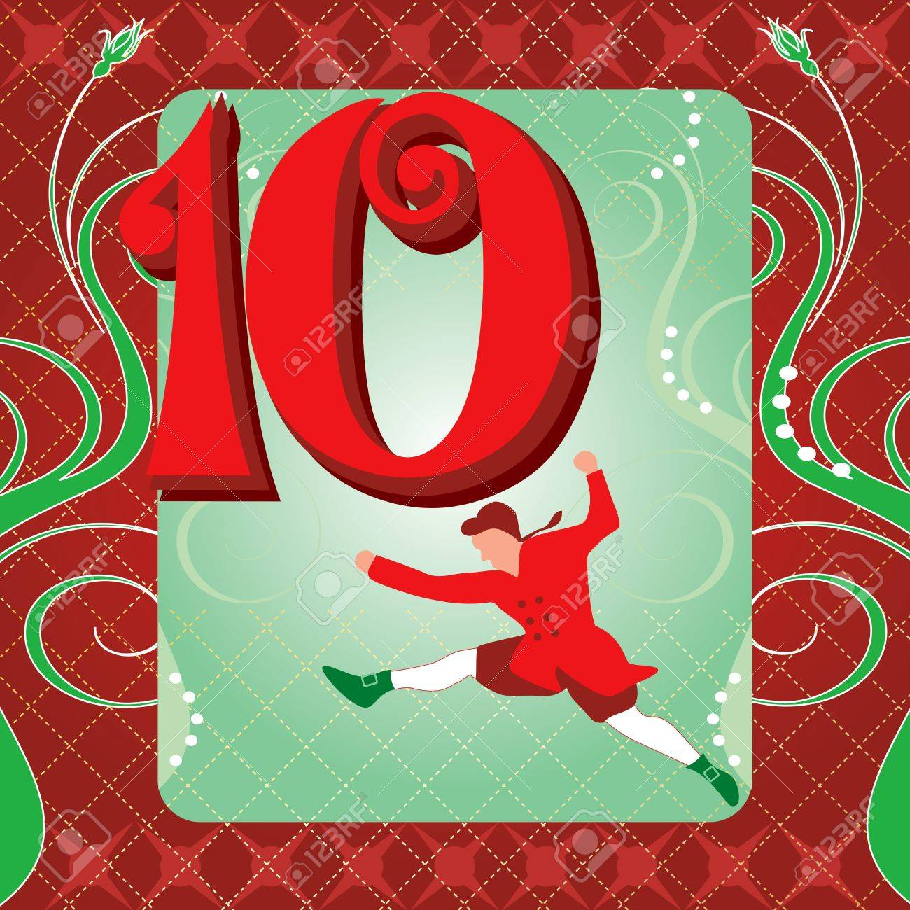 Vector Illustration Card for the 12 days of Christmas. Ten Lords Leaping. Stock Vector - 11271658