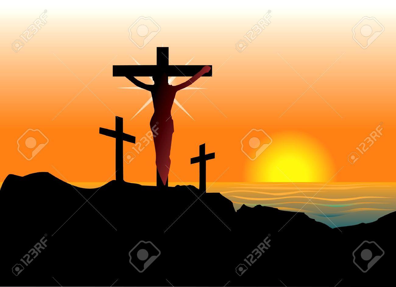 Vector Illustration of Jesus Christ on cross. Easter Resurrection. Stock Vector - 12773173