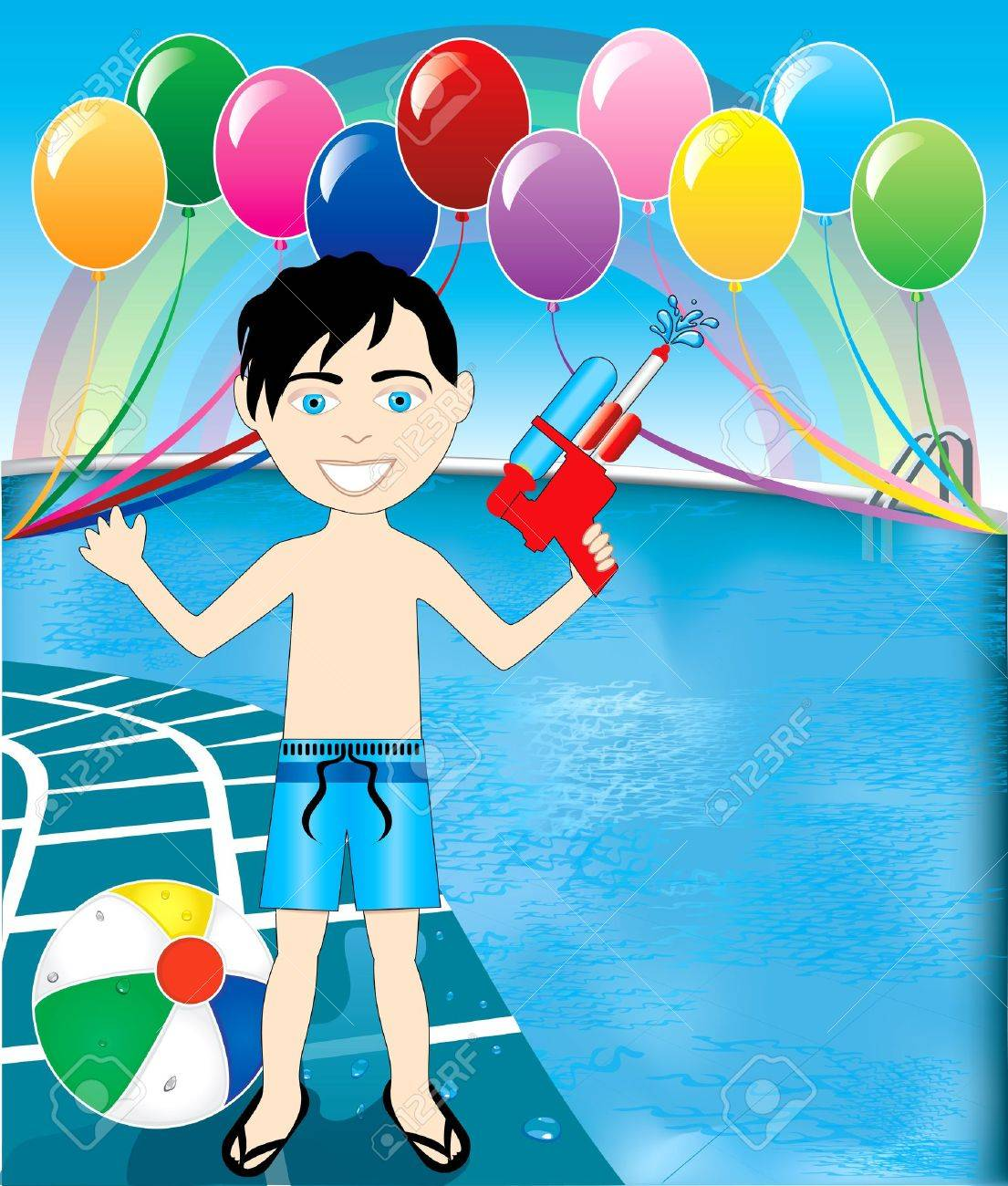 Vector Illustration of watergun boy at pool party with balloons and beach ball. Stock Vector - 13708047