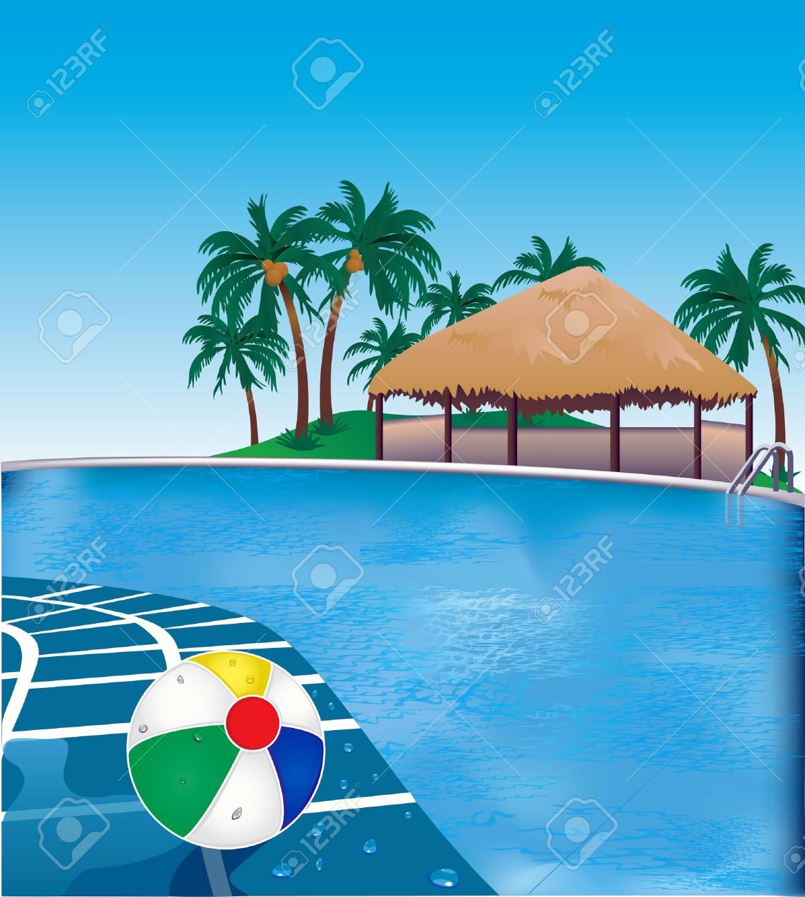 Swimming Pool Beach Ball Background 2,922 resort pool stock vector illustration and royalty free