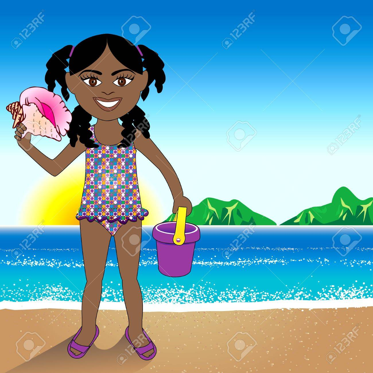 a Conch Shell girl with a Beach Background. Stock Vector - 14038660