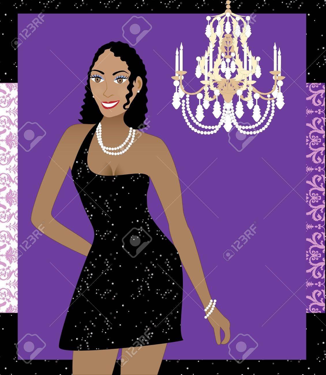 Ilustración De Una Mujer En Vestido Negro. Puede Ser Utilizado Para ...