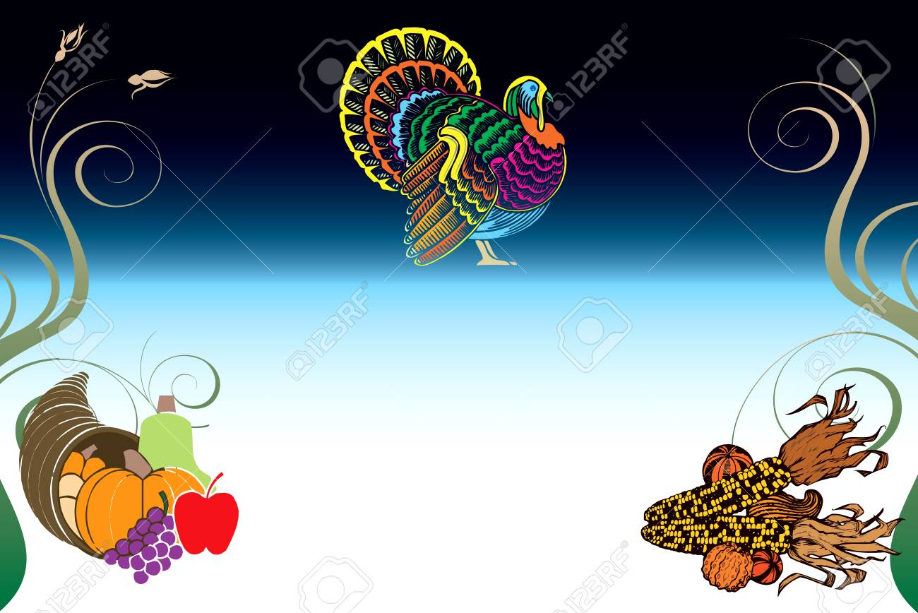 Illustration of a Thanksgiving Background with Turkey, Pumpkin and Corn. Stock Vector - 16386167