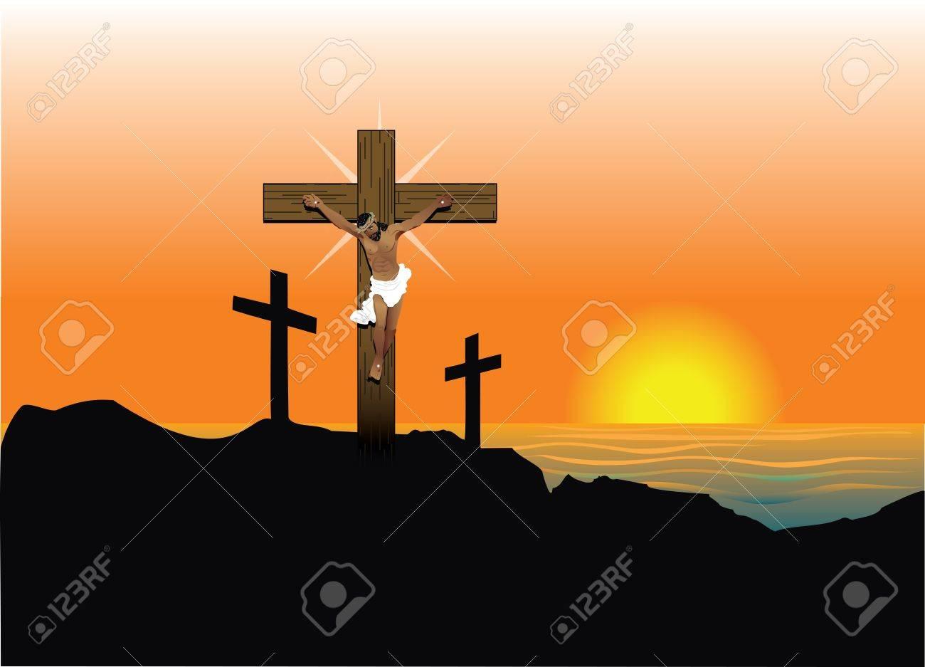 Ilustración Vectorial De Jesucristo En La Cruz Pascua De