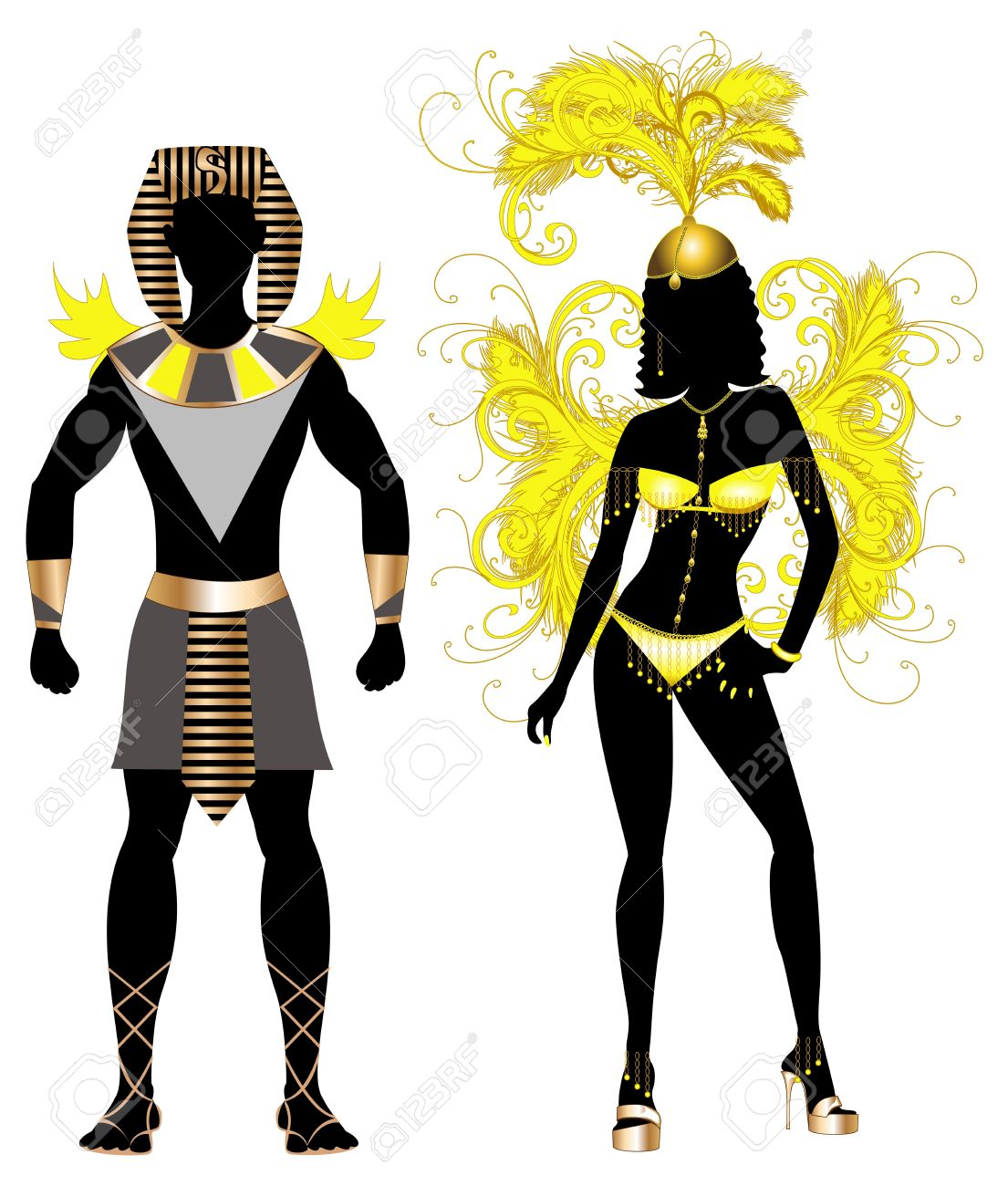 Vector - Vector Illustration Egyptian Couple for Carnival Costume Silhouettes with a man and a woman.  sc 1 st  123RF.com & Vector Illustration Egyptian Couple For Carnival Costume Silhouettes ...