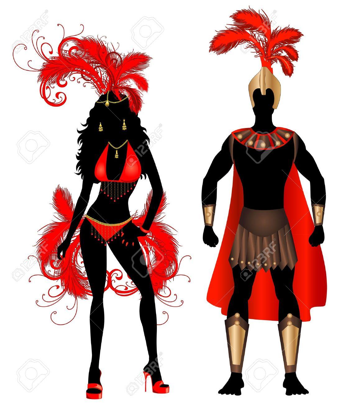 男と女とカーニバル レッド コスチューム シルエットのベクトル