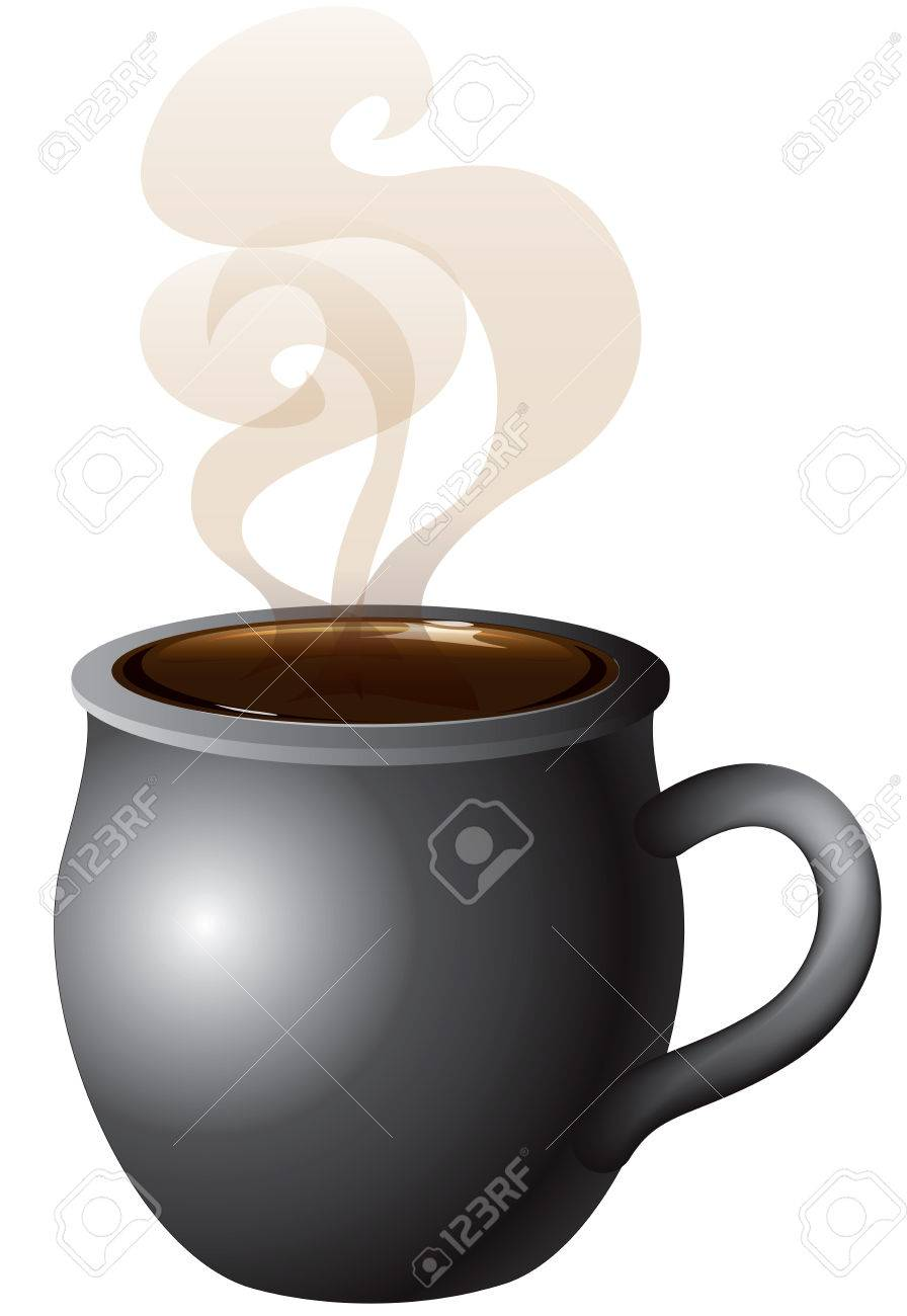 hot chocolate mug clipart. vector illustration of coffee, tea or hot chocolate mug steaming with smoke. stock clipart