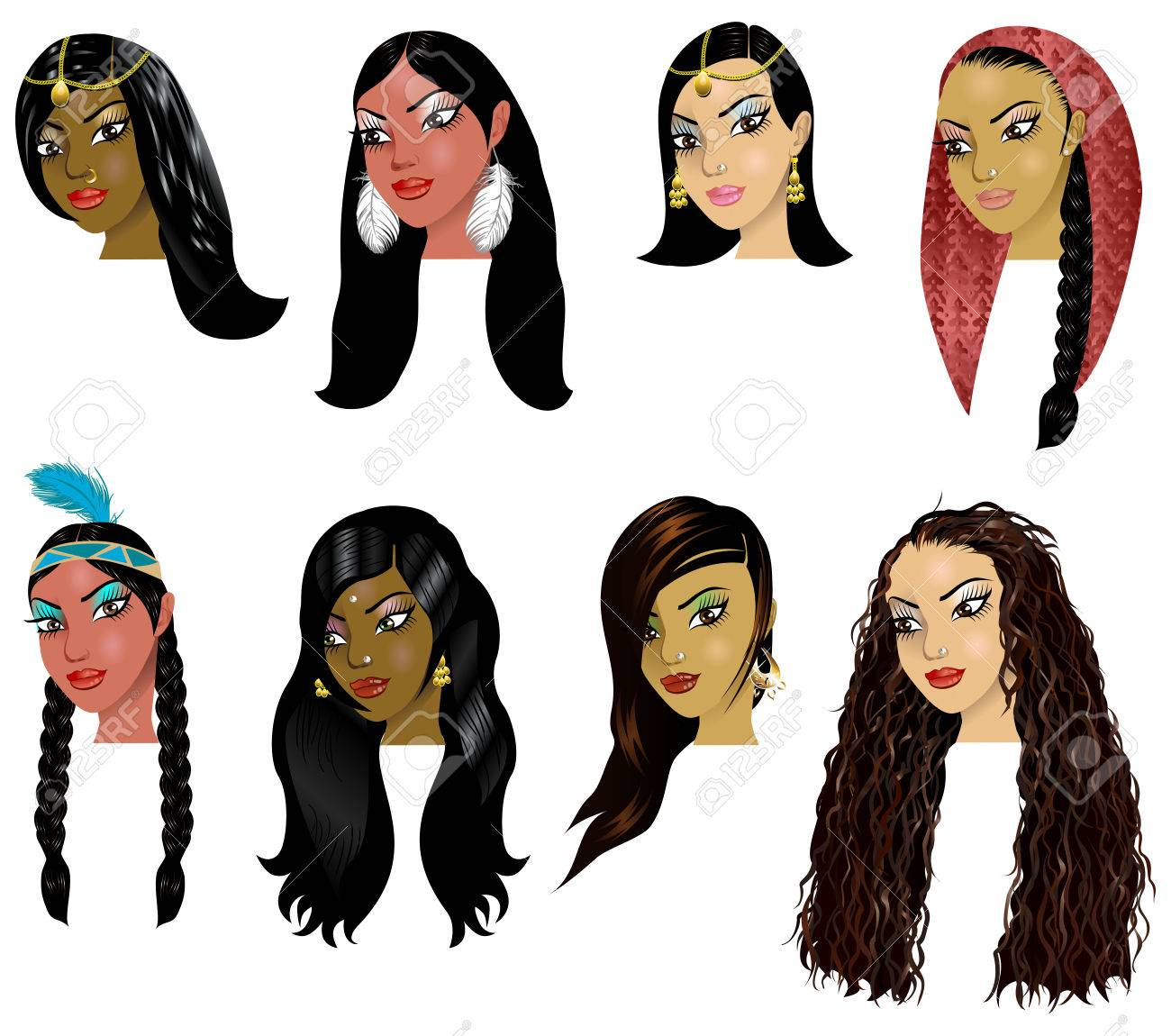 Pleasant Vector Illustration Of Indian Arab And Native American Women Short Hairstyles For Black Women Fulllsitofus