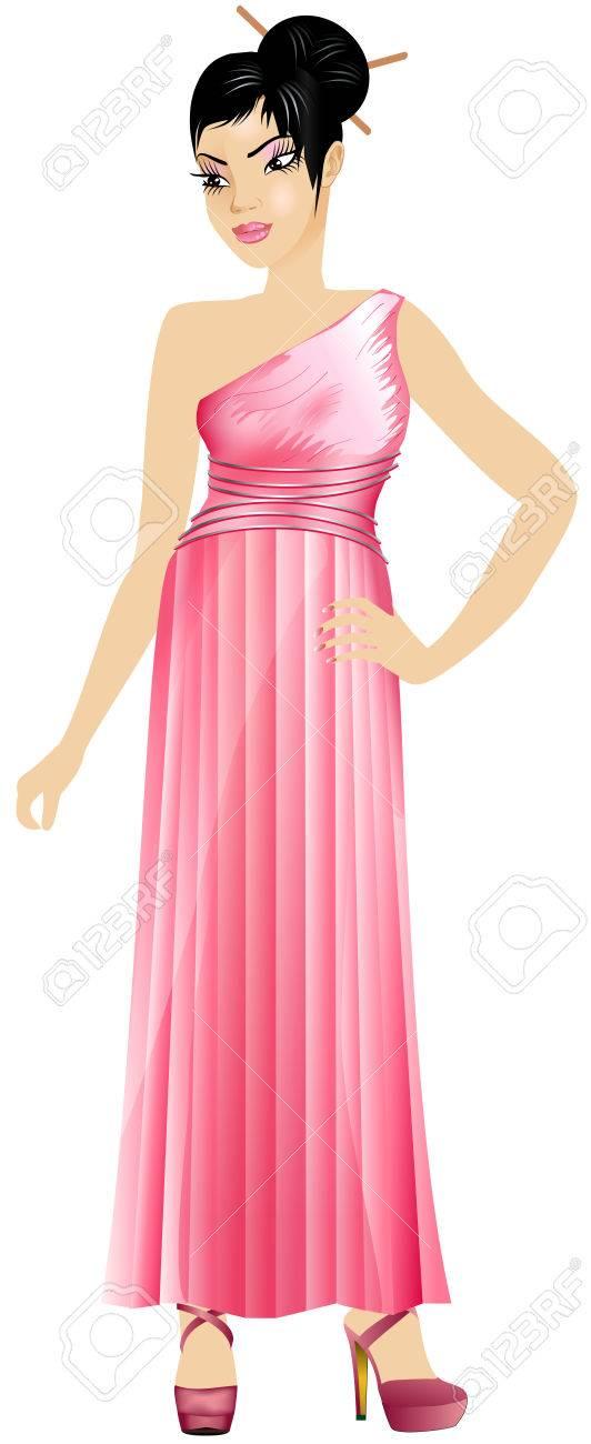 Ilustraciones Vectoriales De Mujer Asiática Con Vestido Rosa Y Vino ...