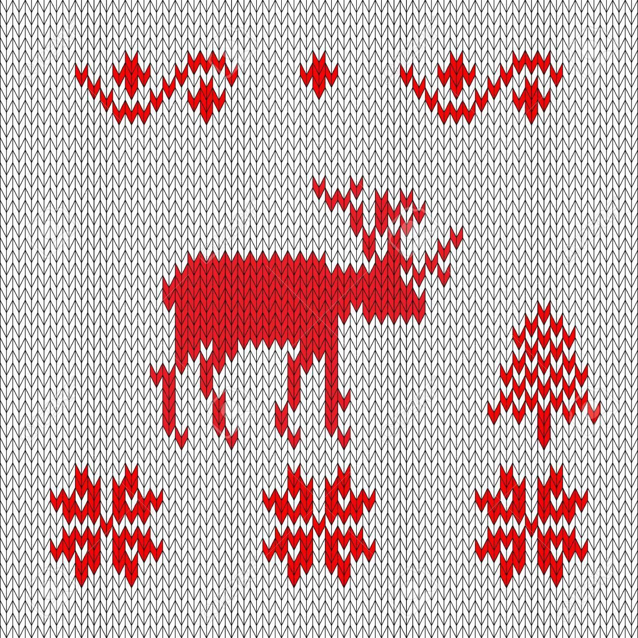 Ciervos De Punto, Estilo Retro Rojo-blanco. Bosque De Invierno Copos ...
