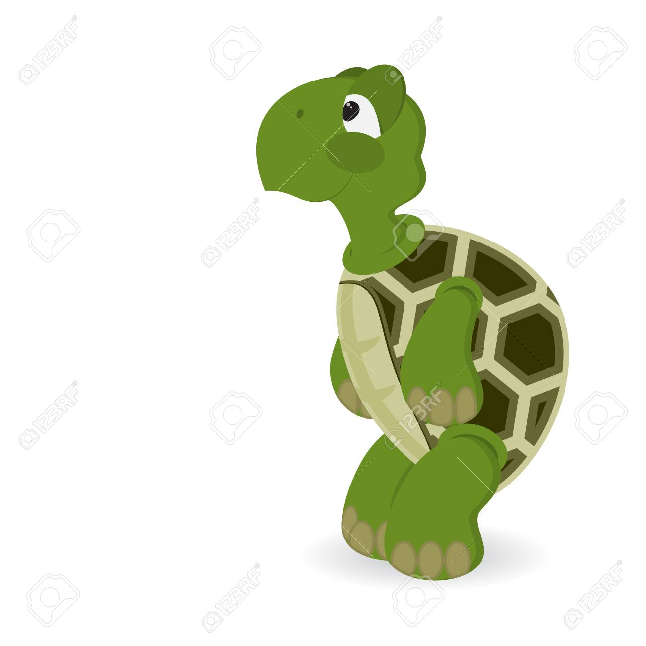Happy Cute Sea Turtle Standing On Its Hind Legs Smiles Isolated