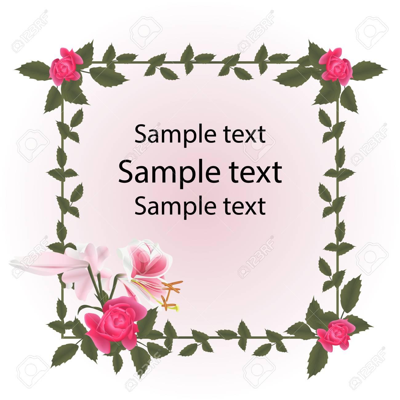 Vintage Postkarte Rahmen. Rote Rosen Und Lilienblume Sind Rosa Weiß ...