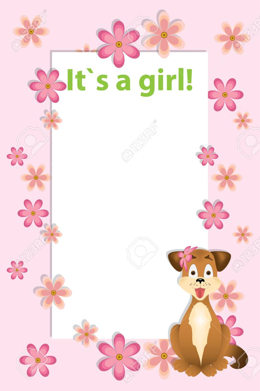 baby girl shower card arrival card with place for your text pink