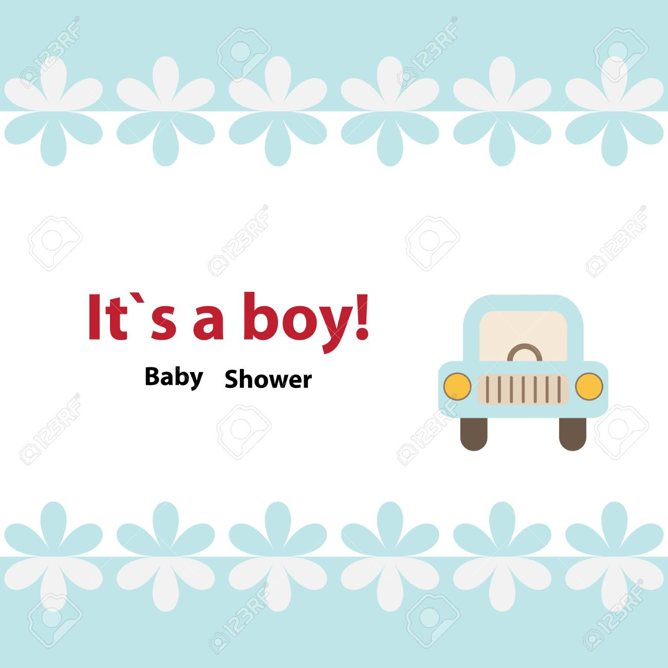 Baby Shower Invitation Card Design With Toy Car And The Border