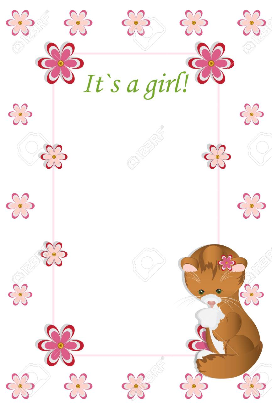baby girl shower card arrival card with place for your text