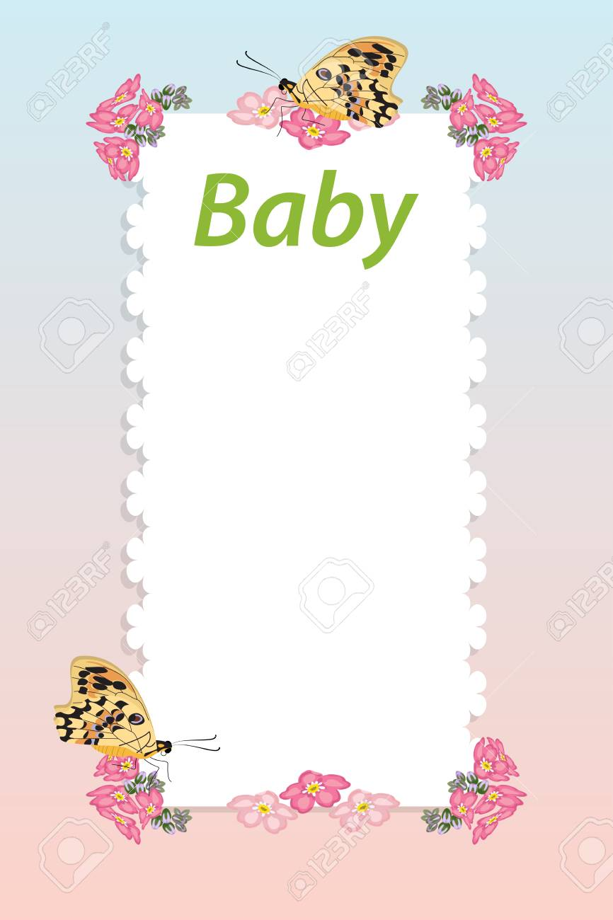 Baby Shower Invitation Arrival Card With Place For Text Template