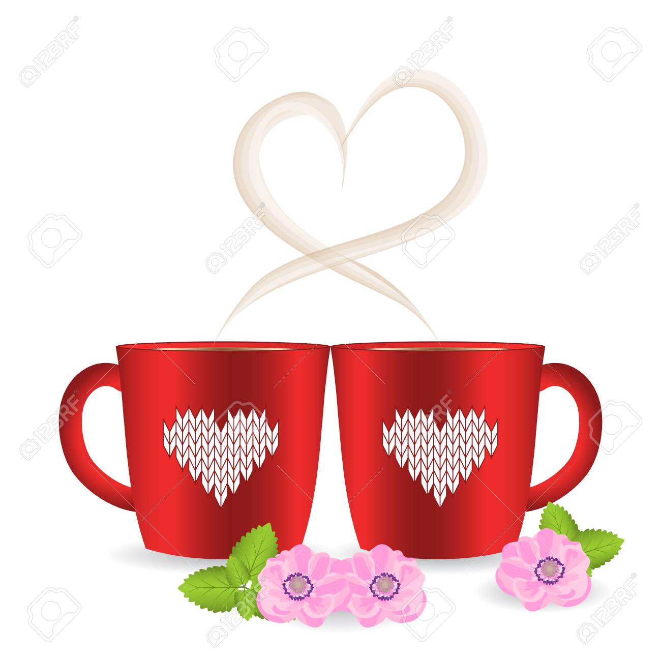 Two Tea Or Coffee Cups With Heart Shaped Steam And Knitted Pattern ...