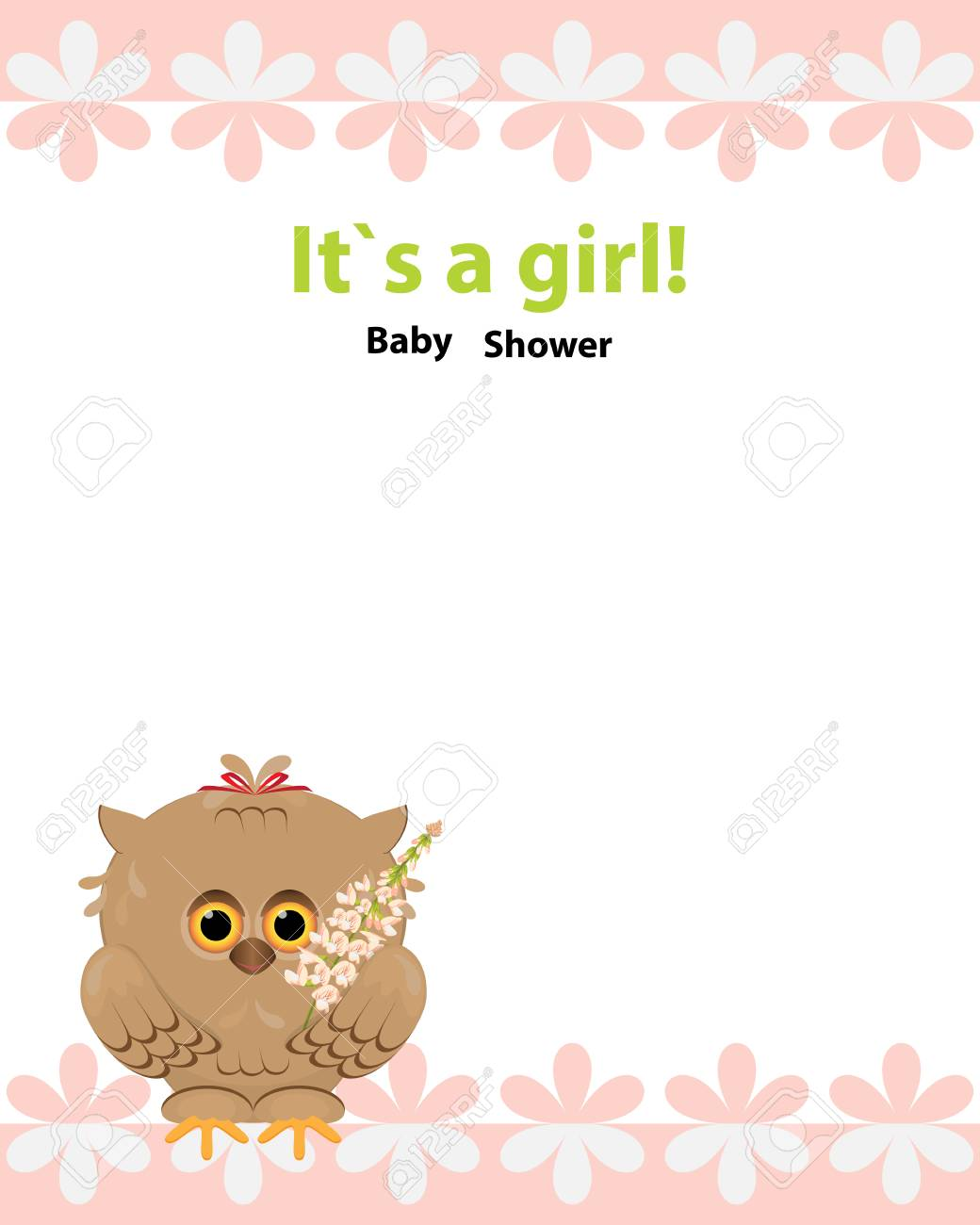 Baby Shower Invitation Card Design Owl With Bow Toy Flower Galega