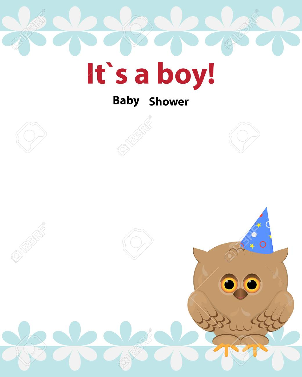 Baby Shower Invitation Card Design With Toy Owl Party Hat And