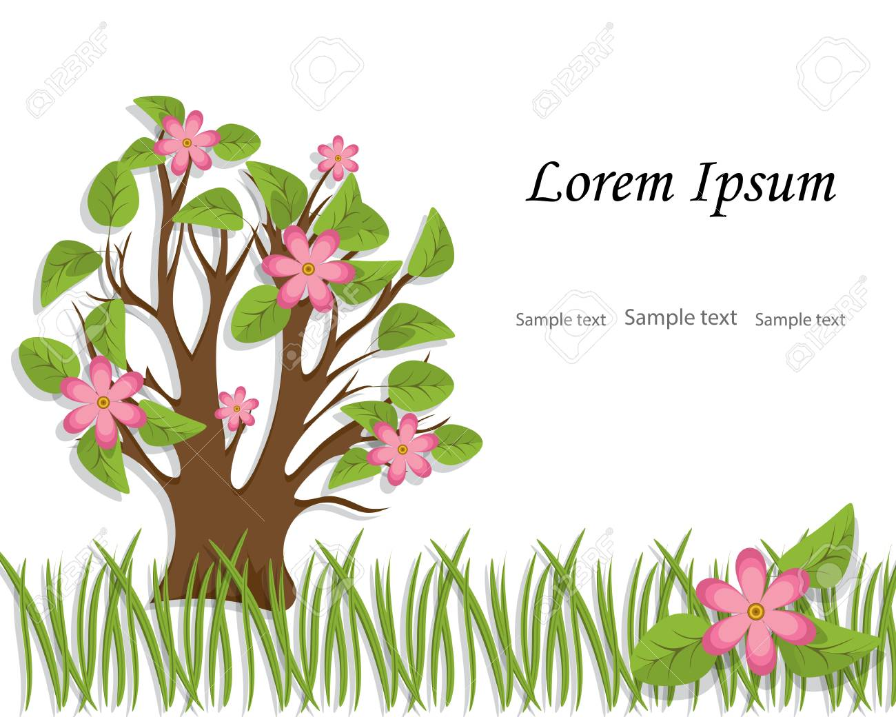 The Tree With Foliage And Pink Flowers Is Cut Out Of Paperspring