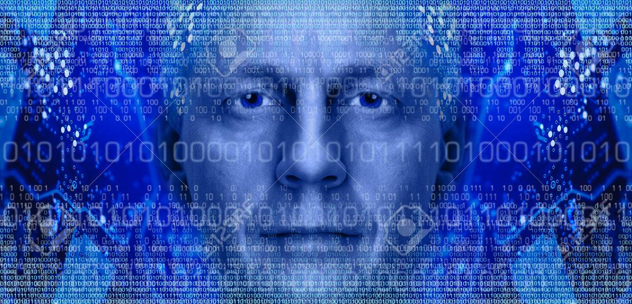 Man Portrait On Background Of Electronic Circuit Board And Binary Royaltyfree Images Code Toned Blue Stock Photo