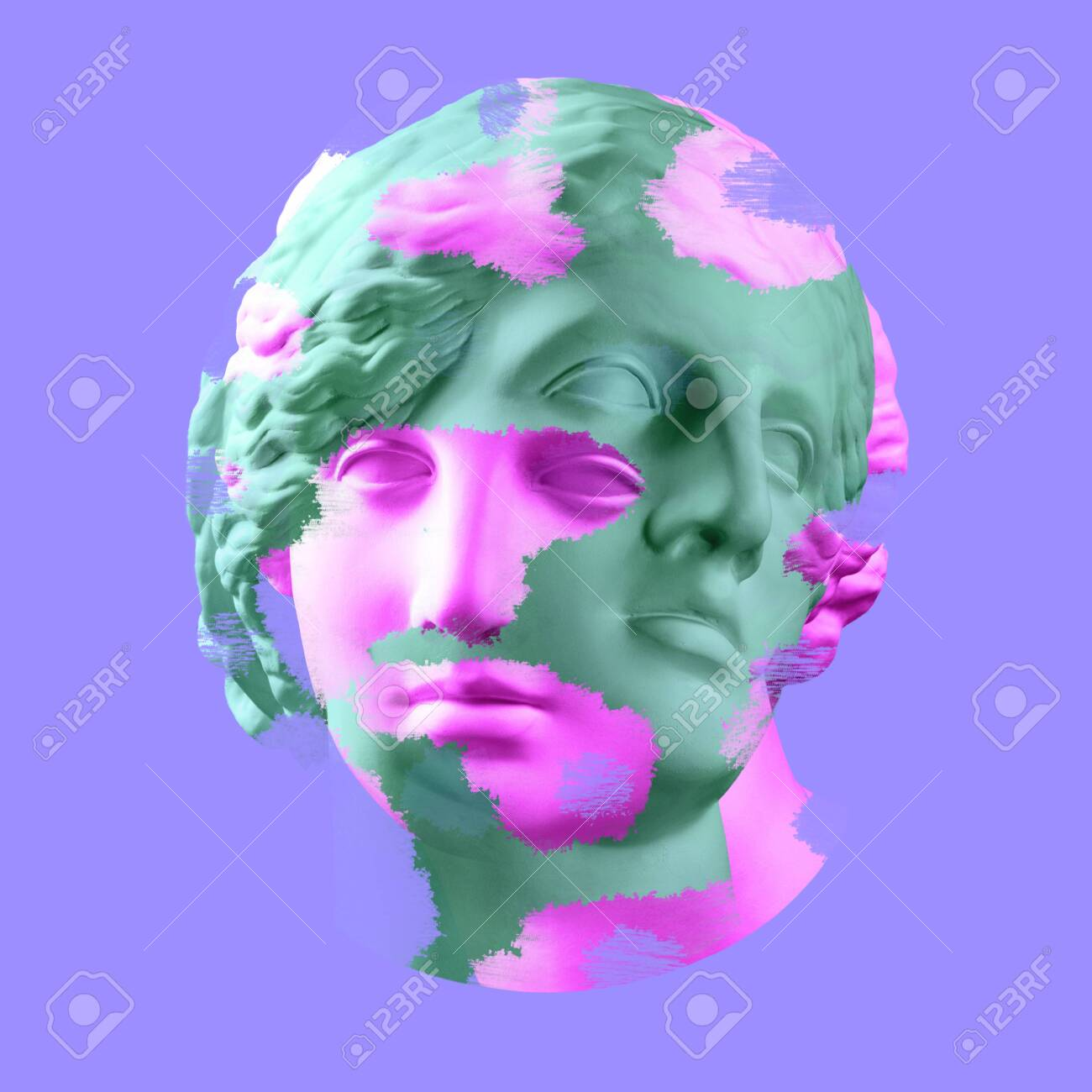 Modern conceptual art poster with ancient statue of bust of Venus. Collage of contemporary art. - 128908788