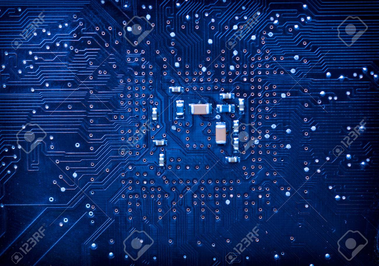Blue Circuit Board Rotating Around Harhsly Lit Elements Of A Stock Images Image 31188634 Background Computer Motherboard Photo