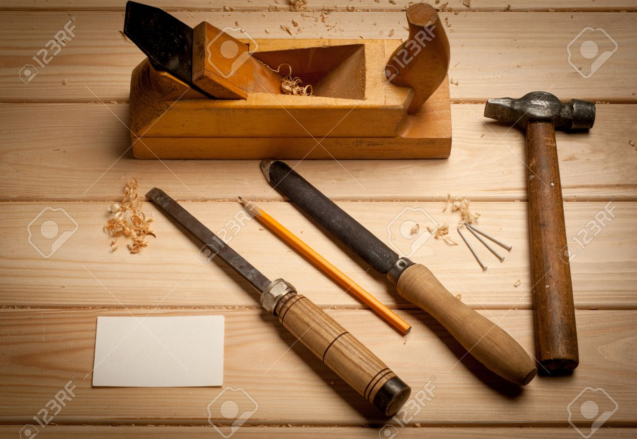 Carpenter Tools In Pine Wood Table Top View Stock Photo Picture And