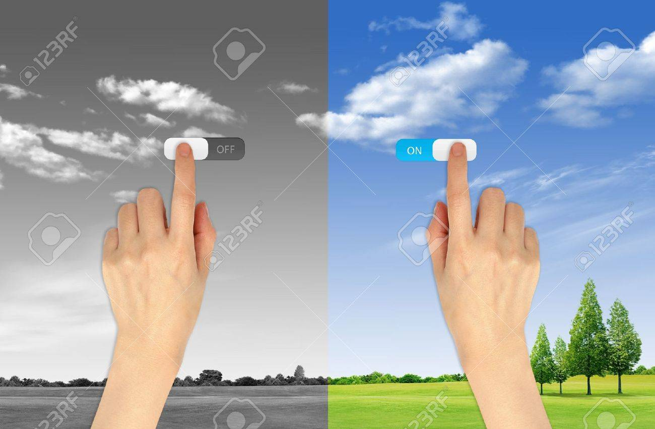 Hand press on and off button on landscape background for green eco concept Stock Photo - 10473595