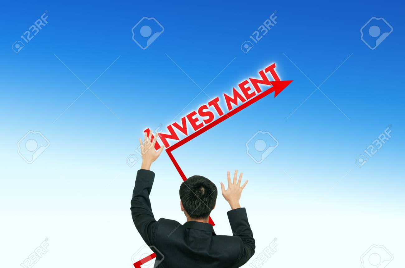 A business man placing business words on the blue sky,growth Stock Photo - 10473378