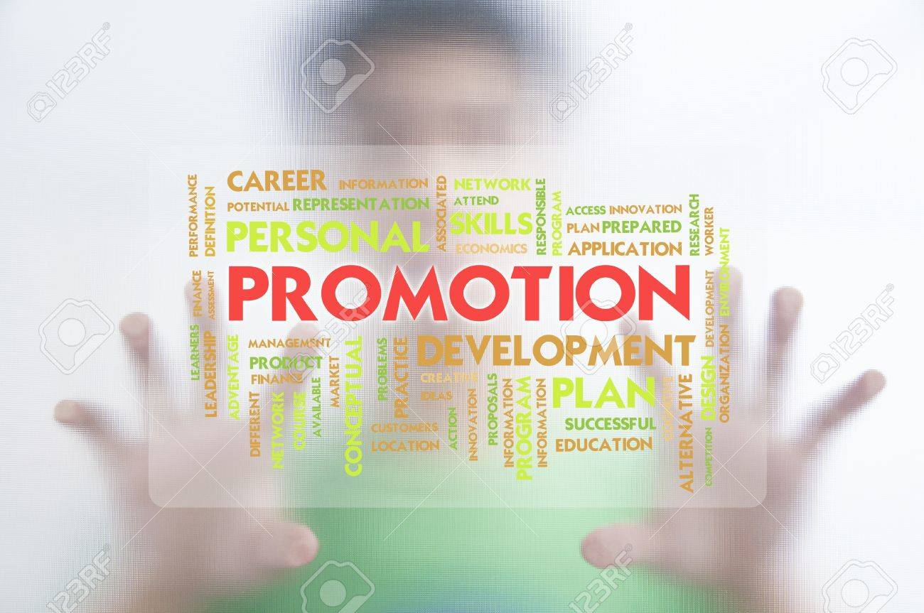 Man pushing the business word cloud on transparent screen,promotion Stock Photo - 10473700