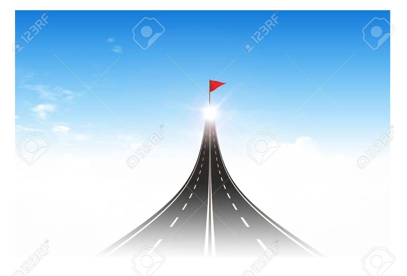 aspiration stock photos images royalty aspiration images and aspiration road to the flag target for business concept stock photo