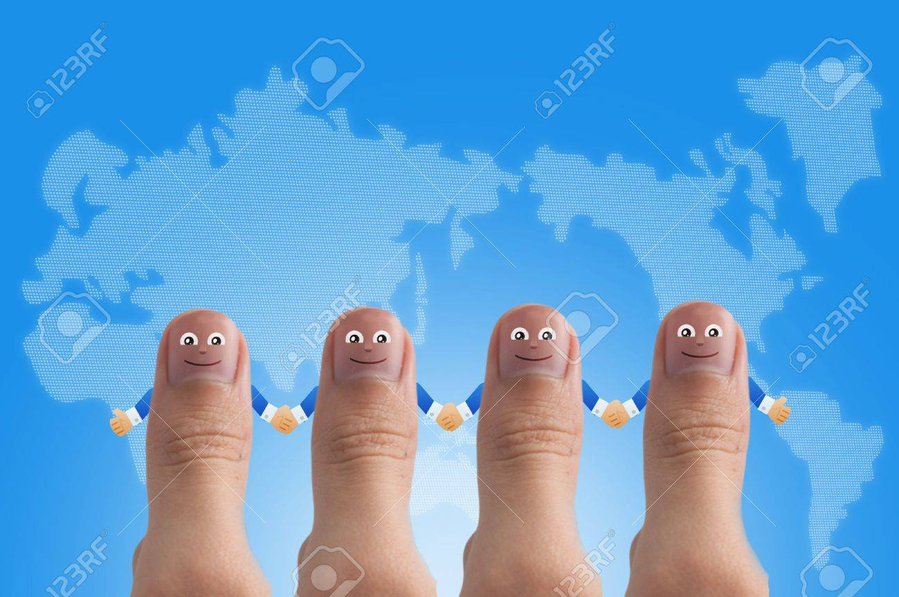 Smiling cartoon face on human thumb up on background Stock Photo - 10473592