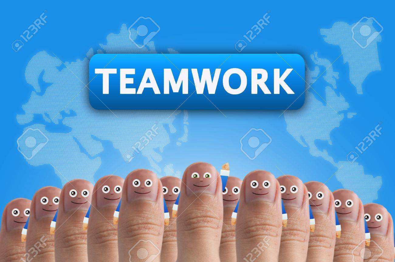 Smiling cartoon face on human thumb up on background, TEAMWORK Stock Photo - 10473590