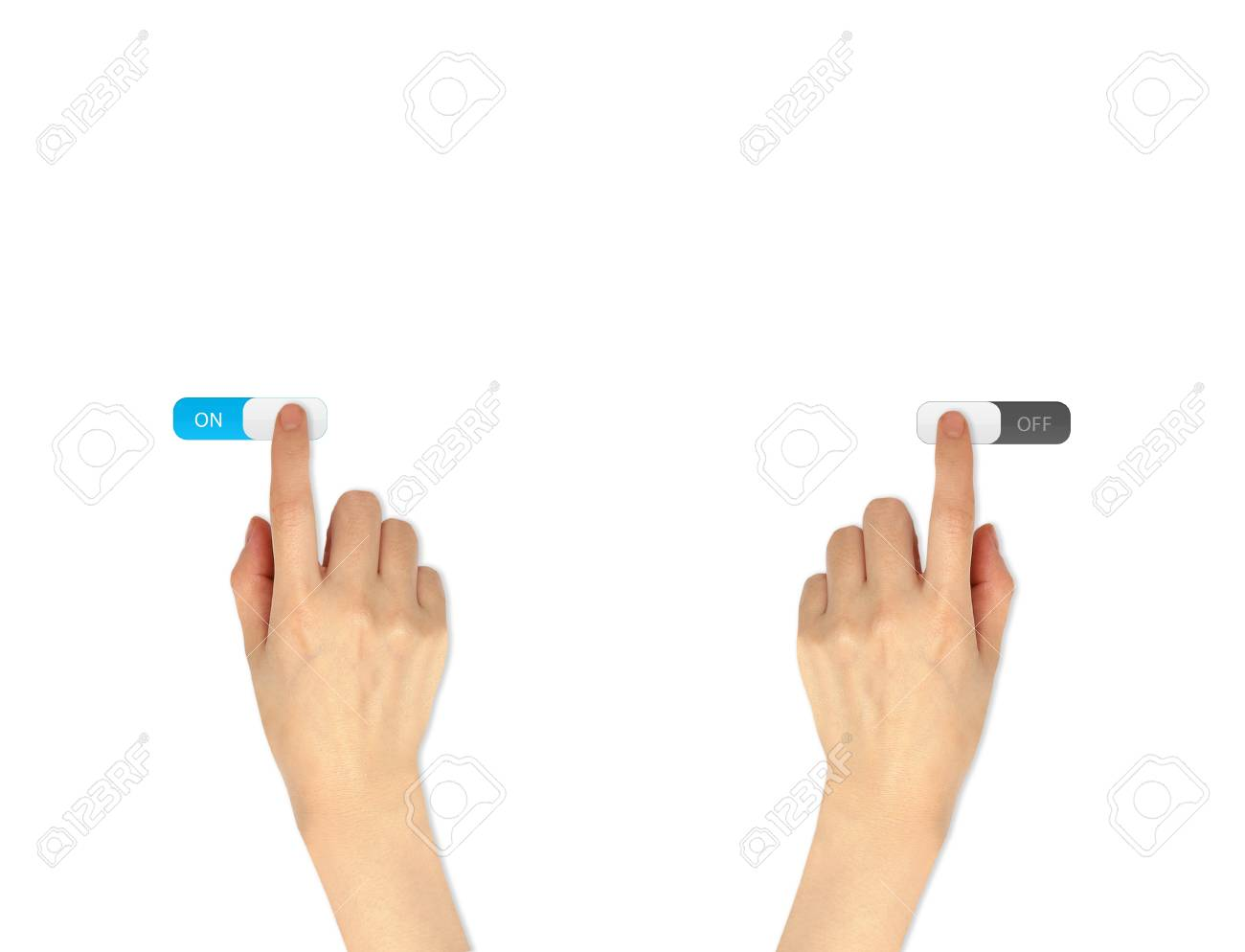 Finger Drücken Social Network-Symbol Auf Ein-und Ausschalten Taste ...