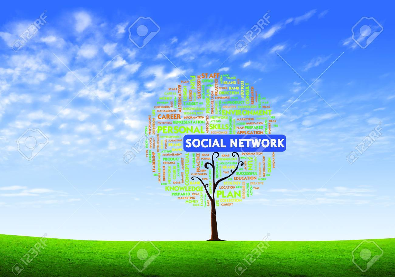 Business word cloud concept in tree form on isolated white background, social network Stock Photo - 10473771