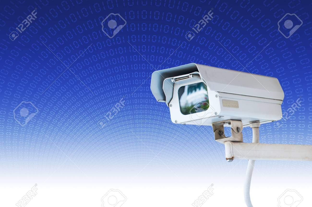 Security Camera or CCTV on blue digital background Stock Photo - 10490267