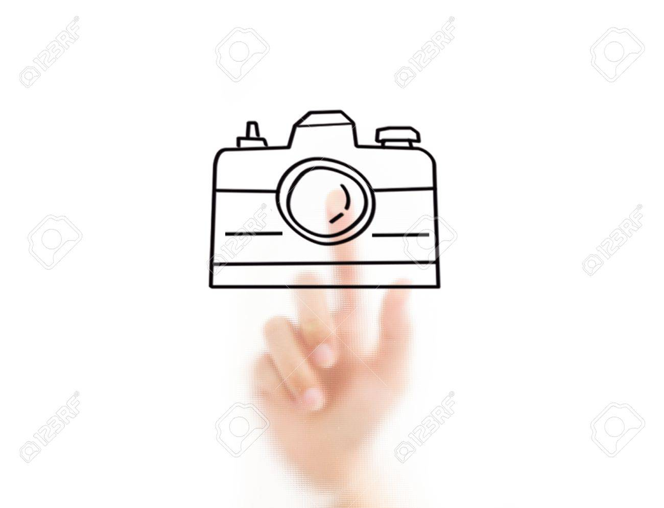 Man finger drawing earth shape Stock Photo - 10489460