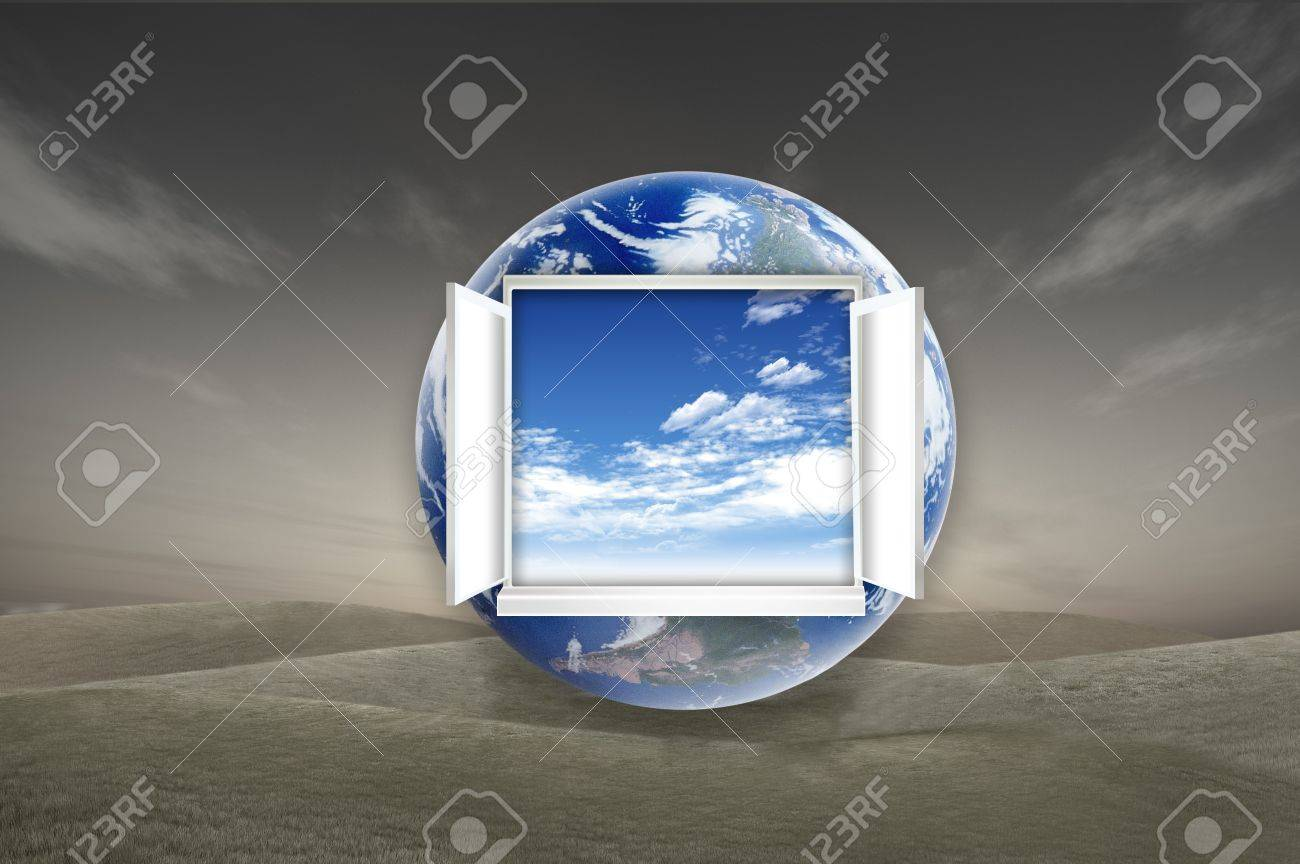 Window open on earth surface to the inside world, for environmental concept and idea Stock Photo - 10785499