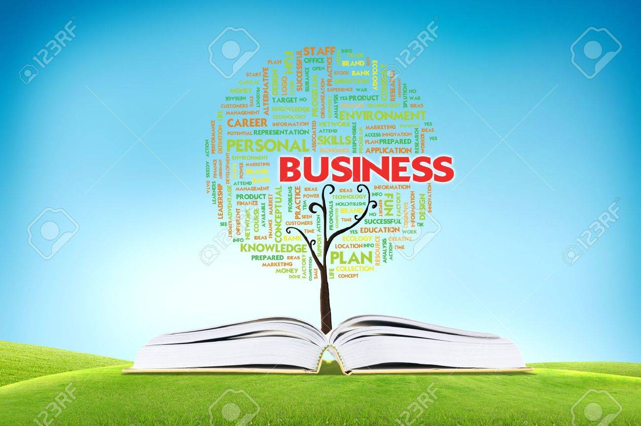 Book AND GROWING word cloud TREE for business concept Stock Photo - 11071411