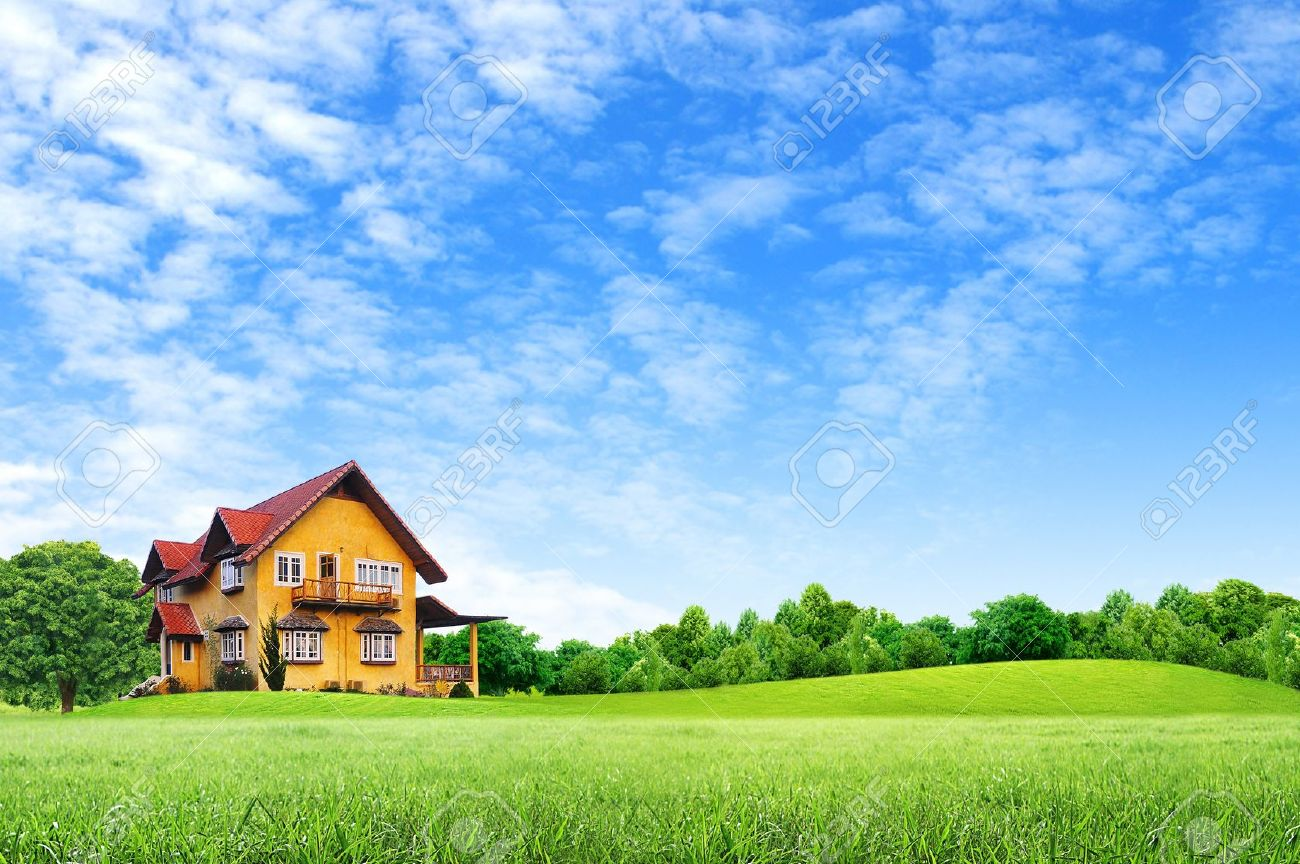 House on green field landscape with blue sky - House On Green Field Landscape With Blue Sky Stock Photo, Picture