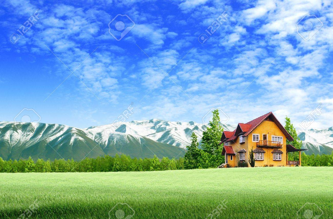 House and moutain on green field landscape with blue sky Stock Photo -  11568629