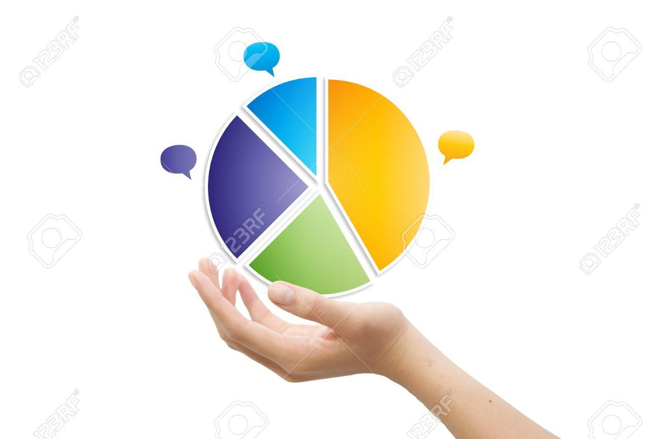 Hand and 3d pie chart Stock Photo - 11993358
