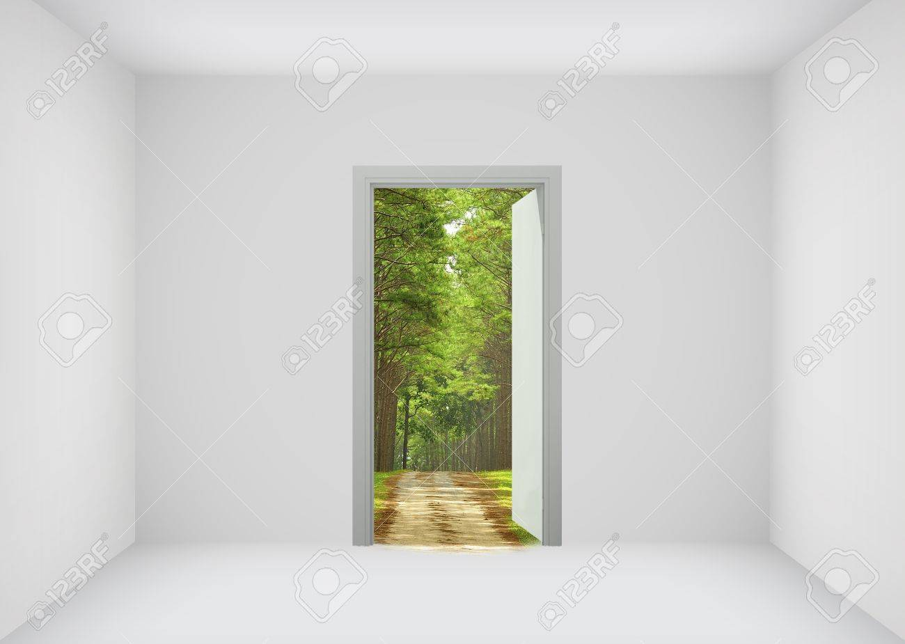 Open door to the new world for environmental and business idea concept Stock Photo - & Open Door To The New World For Environmental And Business Idea ... Pezcame.Com